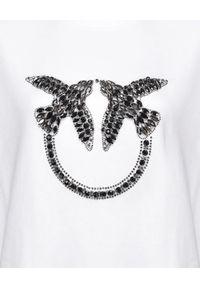 Pinko - PINKO - Biała bluza z jaskółkami Nelly 2. Kolor: biały. Materiał: dzianina, bawełna. Długość rękawa: długi rękaw. Długość: długie