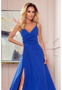 Numoco - Zjawiskowa długa suknia wieczorowa na ramiączkach. Materiał: elastan. Długość rękawa: na ramiączkach. Wzór: aplikacja. Styl: wizytowy. Długość: maxi