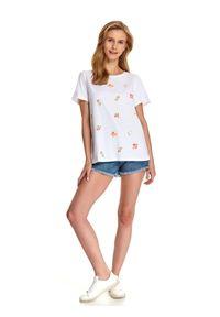 Biały t-shirt TOP SECRET z nadrukiem, z krótkim rękawem
