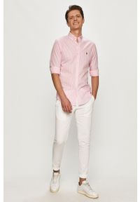 Polo Ralph Lauren - Koszula bawełniana. Typ kołnierza: polo. Kolor: różowy. Materiał: bawełna. Długość rękawa: długi rękaw. Długość: długie