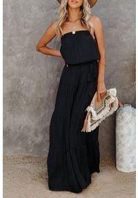 Czarna długa sukienka IVET na lato, z odkrytymi ramionami