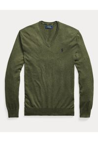 Ralph Lauren - RALPH LAUREN - Bawełniany sweter w serek khaki. Typ kołnierza: dekolt w serek. Kolor: zielony. Materiał: bawełna. Wzór: haft