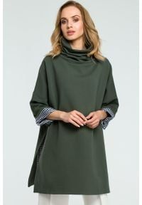 e-margeritka - Elegancka bawełniana bluza z golfem khaki - uni. Typ kołnierza: golf. Kolor: brązowy. Materiał: bawełna. Długość: długie. Sezon: zima, jesień. Styl: elegancki