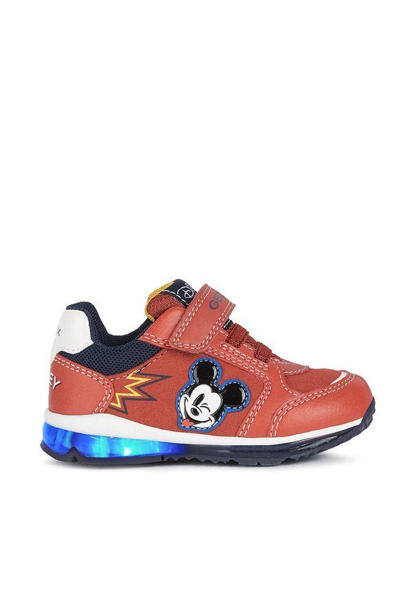 Czerwone buty sportowe Geox z okrągłym noskiem, z cholewką, na rzepy