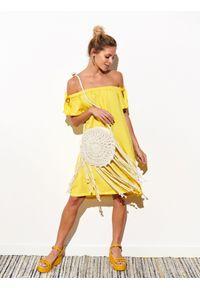 Żółta sukienka DRYWASH z krótkim rękawem, na lato, wakacyjna