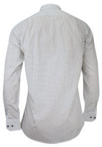 Jurel - Biała Klasyczna Koszula Męska, Długi Rękaw - JUREL - 100% Bawełna, w Drobne Czarne Kwadraciki. Okazja: do pracy, na spotkanie biznesowe. Kolor: wielokolorowy, biały, czarny. Materiał: bawełna. Długość rękawa: długi rękaw. Długość: długie. Wzór: aplikacja. Styl: klasyczny