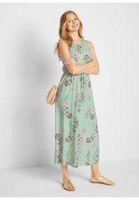 Długa sukienka w kwiaty bonprix kremowy zielony. Kolor: zielony. Wzór: kwiaty. Długość: maxi
