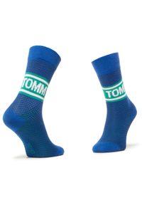 Zestaw 2 par wysokich skarpet damskich TOMMY HILFIGER - 100000809 Forever Blue 002. Kolor: niebieski. Materiał: elastan, bawełna, materiał, poliamid