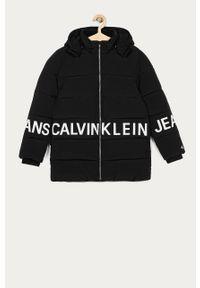 Czarna kurtka Calvin Klein Jeans casualowa, z kapturem