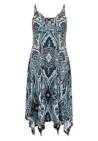 Sukienka z nadrukiem bonprix turkusowo-biel wełny z nadrukiem. Kolor: niebieski. Materiał: wełna. Wzór: nadruk