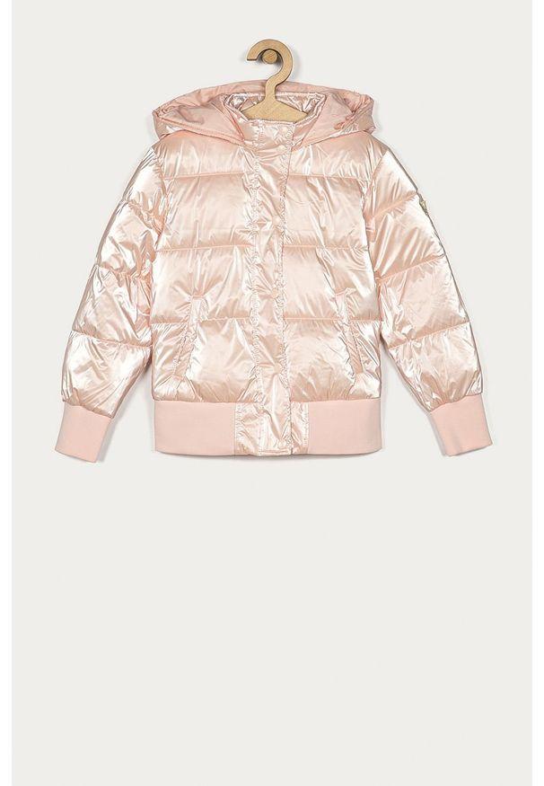 Różowa kurtka Guess Jeans z kapturem