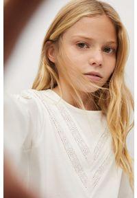Biała bluzka z długim rękawem Mango Kids długa, casualowa