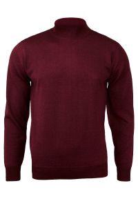 Czerwony sweter MM Classic klasyczny, z klasycznym kołnierzykiem