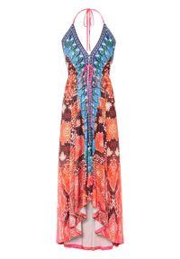 Sukienka z nadrukiem we wzór skóry węża bonprix pomarańczowo-jasnoróżowy we wzór skóry węża. Kolor: pomarańczowy. Materiał: skóra. Wzór: nadruk. Sezon: lato