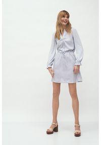 Nife - Krótka Sukienka z Długim Rękawem - Szara. Kolor: szary. Materiał: wiskoza. Długość rękawa: długi rękaw. Długość: mini