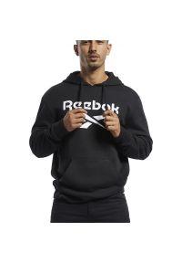 Czarna bluza Reebok klasyczna, z aplikacjami, z długim rękawem, długa