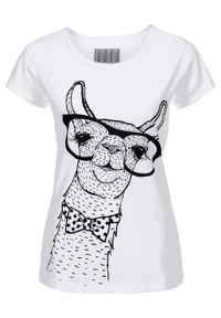 T-shirt z nadrukiem bonprix biały Lama. Kolor: biały. Wzór: nadruk