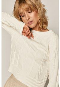 Kremowy sweter medicine długi, casualowy, z długim rękawem