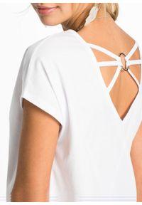 Shirt z ozdobnym tyłem bonprix biały. Kolor: biały
