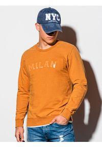 Pomarańczowa bluza Ombre Clothing klasyczna, z nadrukiem, bez kaptura