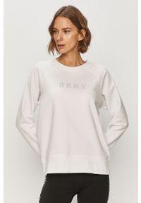 Biała bluza DKNY casualowa, z długim rękawem