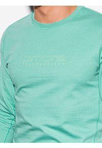 Ombre Clothing - Bluza męska bez kaptura z nadrukiem B1160 - turkusowa - XXL. Typ kołnierza: bez kaptura. Kolor: turkusowy. Materiał: poliester, bawełna. Wzór: nadruk. Sezon: wiosna, lato. Styl: klasyczny