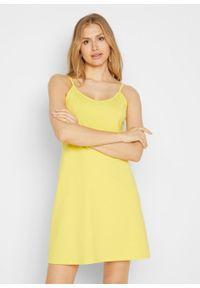 Letnia sukienka z dżerseju na cienkich, regulowanych ramiączkach bonprix żółty ananasowy. Kolor: żółty. Materiał: jersey. Długość rękawa: na ramiączkach. Sezon: lato