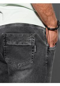 Ombre Clothing - Spodnie męskie joggery P1057 - grafitowe - XXL. Kolor: szary. Materiał: bawełna, jeans, elastan