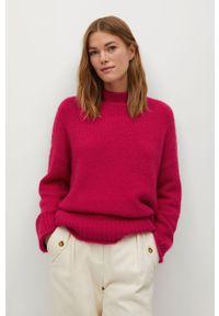 Różowy sweter mango długi, z długim rękawem, na co dzień, casualowy