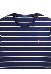 Ralph Lauren - RALPH LAUREN - Granatowy t-shirt SSL Regular Fit. Typ kołnierza: polo. Kolor: niebieski. Materiał: bawełna. Wzór: paski, kolorowy