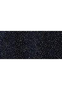 TOP SECRET - Welurowa spódnica midi z błyszczącą posypką. Kolor: niebieski. Materiał: welur. Styl: elegancki