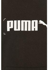 Czarna bluza nierozpinana Puma z nadrukiem, z kapturem, na co dzień