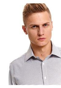 TOP SECRET - Koszula z tkaniny oxford w drobną kratę. Kolor: szary. Materiał: tkanina. Długość: długie. Sezon: zima. Styl: klasyczny, elegancki