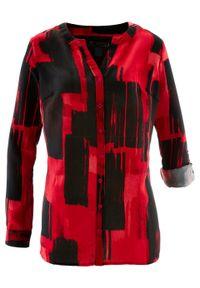 Długa bluzka z nadrukiem bonprix czerwono-czarny. Kolor: czerwony. Długość: długie. Wzór: nadruk. Styl: elegancki