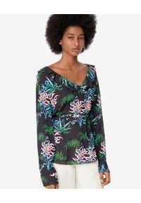 Kenzo - KENZO - Czarna koszula w lilie wodne. Okazja: na co dzień. Kolor: czarny. Materiał: wiskoza. Wzór: aplikacja, nadruk. Sezon: lato, wiosna. Styl: casual