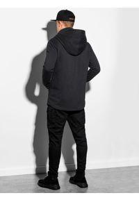 Ombre Clothing - Bluza męska z kapturem B1012 - czarna - XXL. Typ kołnierza: kaptur. Kolor: czarny. Materiał: bawełna, dzianina, poliester. Styl: elegancki #4