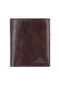 Wittchen - Męski portfel skórzany trzyczęściowy. Kolor: brązowy. Materiał: skóra