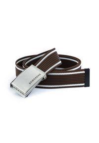 BRODRENE - Pasek męski do spodni parciany Brodrene P07S brązowo-biały. Kolor: biały, brązowy, wielokolorowy. Materiał: jeans, skóra, materiał. Wzór: paski. Styl: elegancki