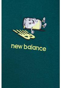 New Balance - T-shirt bawełniany. Kolor: zielony. Materiał: bawełna. Wzór: aplikacja