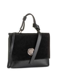Czarna torebka klasyczna QUAZI klasyczna, zamszowa