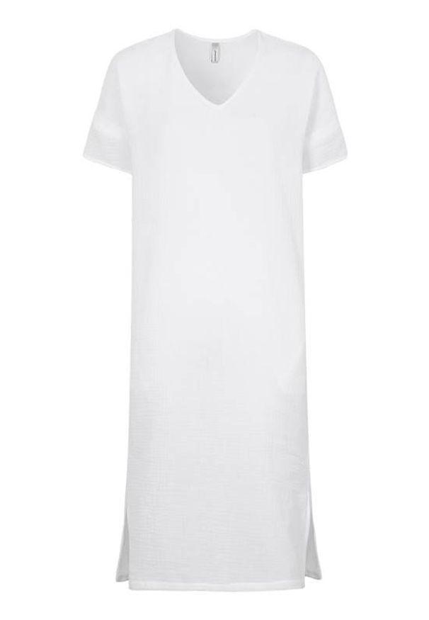 Soyaconcept Sukienka z gniecionej bawełny Polina biały female biały M (40). Typ kołnierza: dekolt w serek. Kolor: biały. Materiał: bawełna. Długość rękawa: krótki rękaw. Typ sukienki: proste. Styl: elegancki