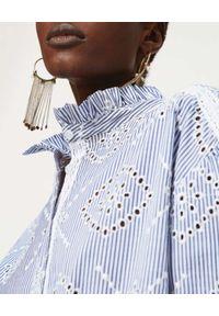 TwinSet - TWINSET - Popelinowa koszula z ozdobnym haftem. Okazja: do pracy. Kolor: biały. Materiał: koronka, materiał. Wzór: haft