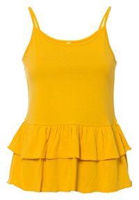 Top z falbanami bonprix żółty szafranowy. Kolor: żółty