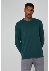 medicine - Medicine - Longsleeve bawełniany Basic. Kolor: zielony. Materiał: bawełna. Długość rękawa: długi rękaw. Wzór: gładki