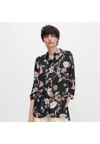 Czarna koszula Reserved w kwiaty