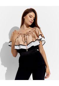 CRISTINAEFFE - Czarna bluzka hiszpanka. Typ kołnierza: dekolt hiszpanka. Kolor: czarny. Materiał: materiał. Sezon: lato