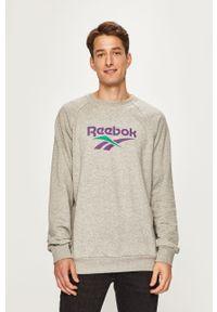Szara bluza nierozpinana Reebok Classic casualowa, z nadrukiem