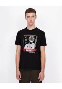 Armani Exchange - ARMANI EXCHANGE - Czarny T-shirt z nadrukiem. Okazja: na co dzień. Kolor: czarny. Materiał: jeans, bawełna. Wzór: nadruk. Styl: casual, klasyczny