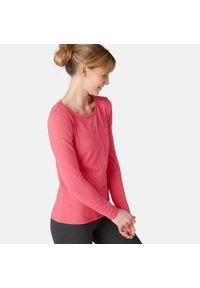 NYAMBA - Koszulka z długim rękawem fitness. Kolor: różowy. Materiał: bawełna, materiał, elastan. Długość rękawa: długi rękaw. Długość: długie. Sport: fitness