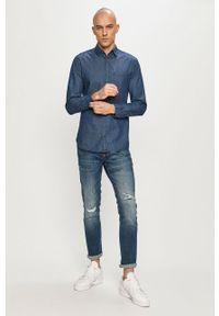 Niebieska koszula PRODUKT by Jack & Jones z długim rękawem, gładkie, na co dzień, długa